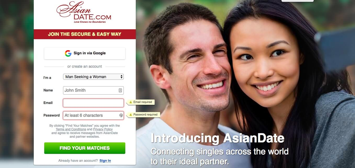 AsianDate Registration