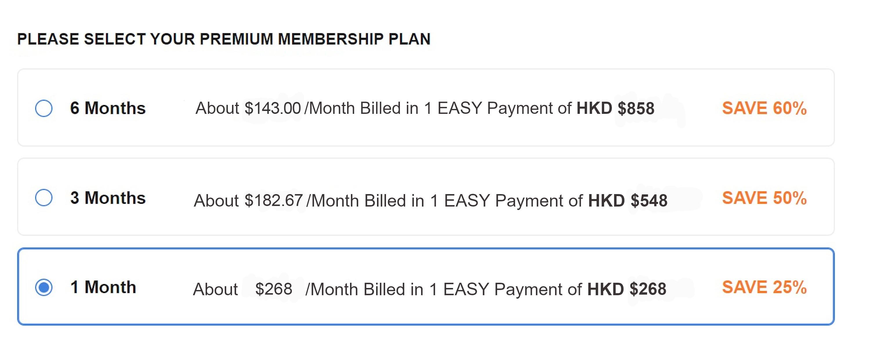 BiCupid HK Cost