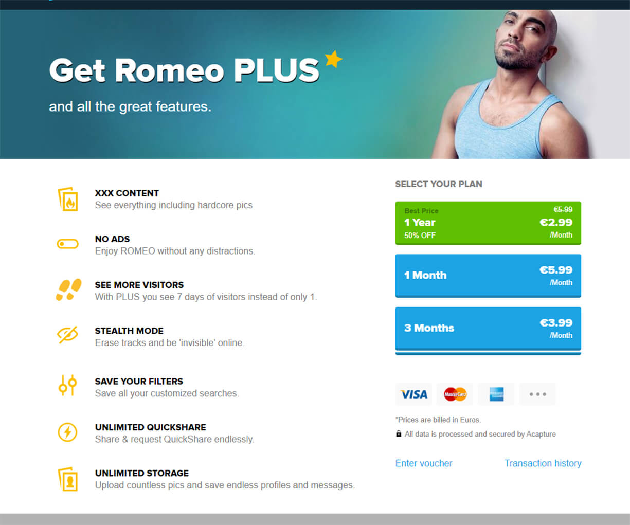 PlanetRomeo Price Table