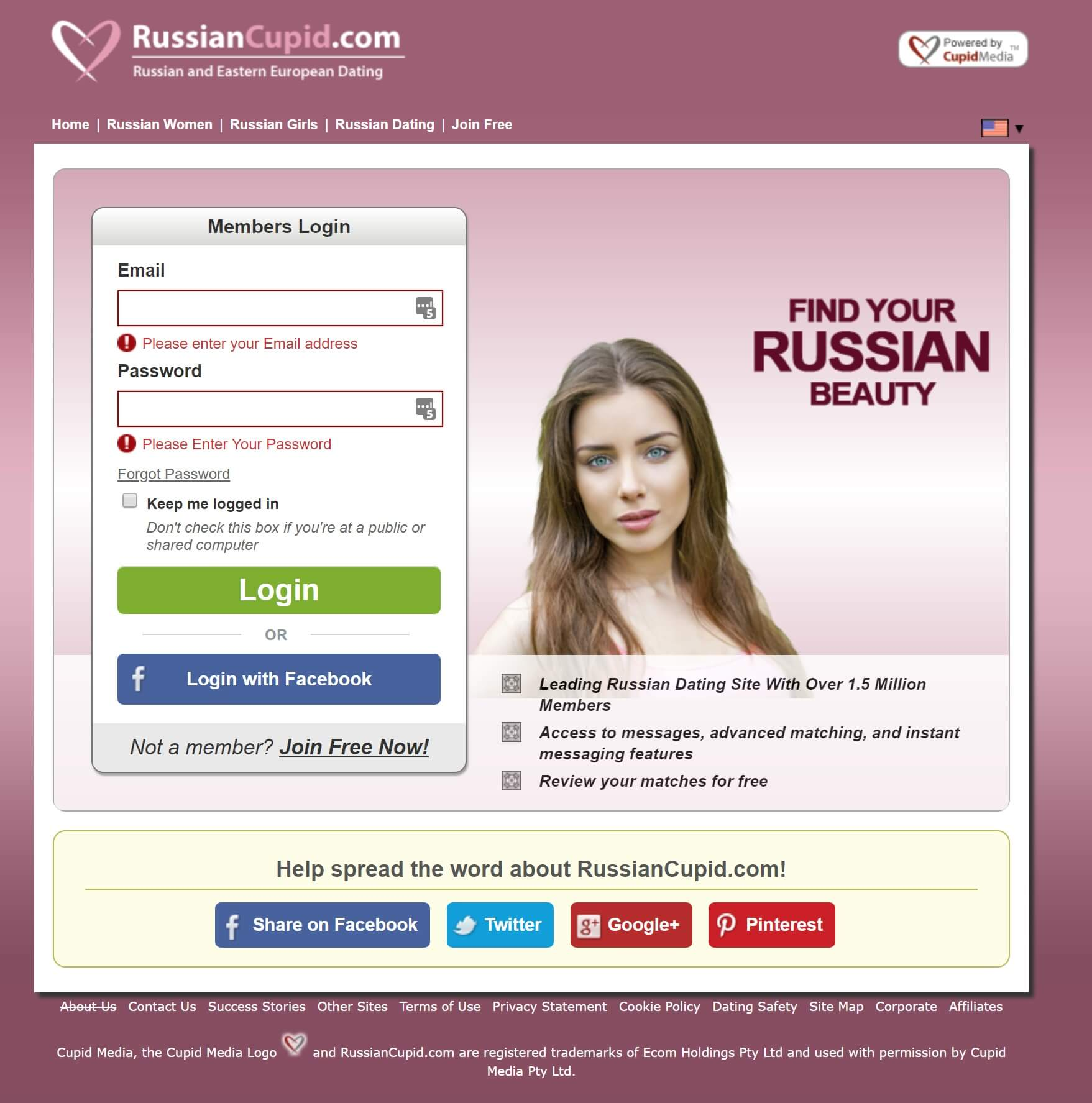 RussianCupid Signing Up