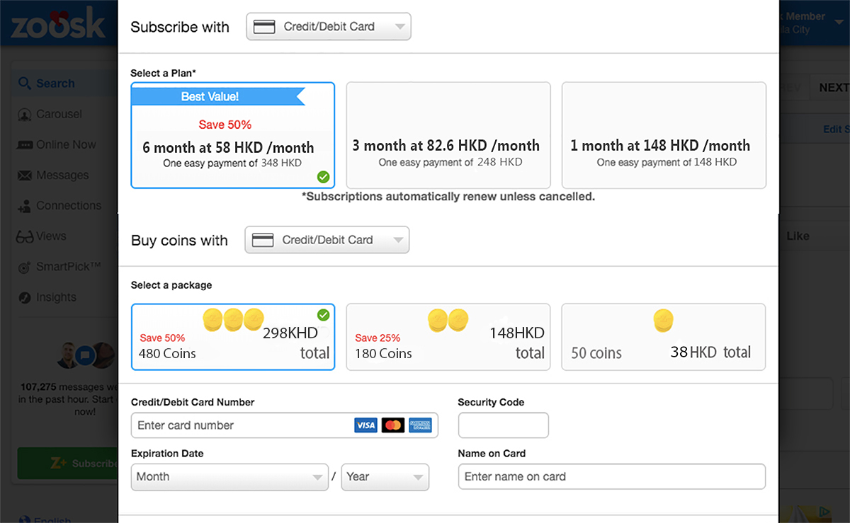 Zoosk Prices HK Updated