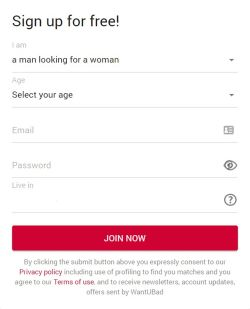 WantUBad Sign Up