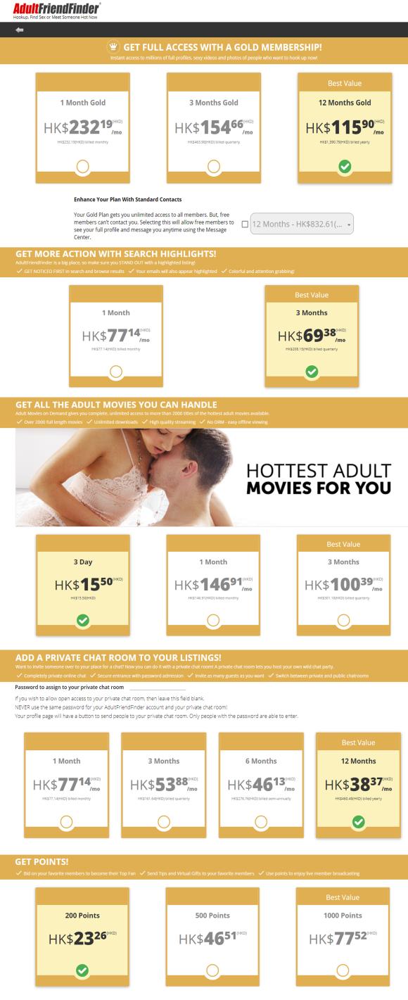 Adultfriendfinder HK Price