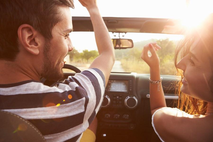 Latino Couple on Road Trip