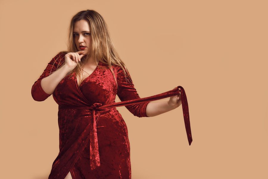 bbw red dress