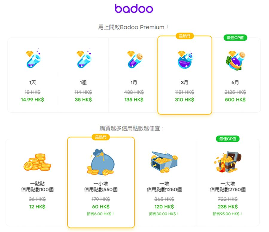 Badoo Price Table
