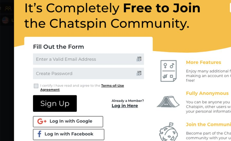 Chatspin Sign Up