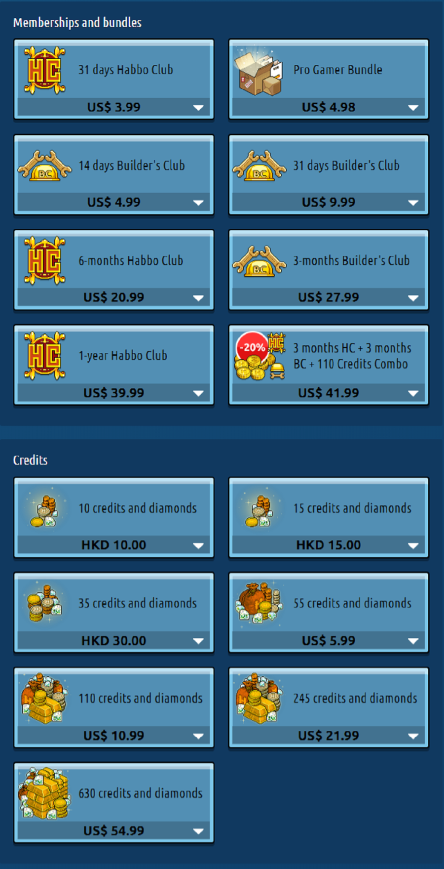 Habbo Prices HK